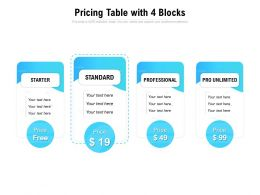 Pricing Table With 4 Blocks