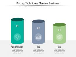 Pricing Techniques Service Business Ppt Powerpoint Presentation Layouts Template Cpb