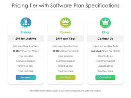 Pricing Tier With Software Plan Specifications