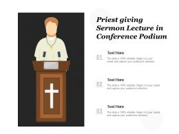 Priest Giving Sermon Lecture In Conference Podium