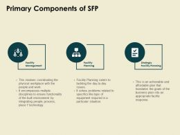 Primary Components Of Sfp Facility Management Ppt Powerpoint Presentation Pictures