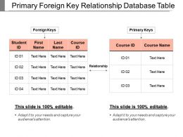 Primary Foreign Key Relationship Database Table