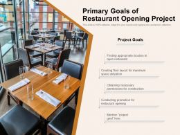 Primary Goals Of Restaurant Opening Project