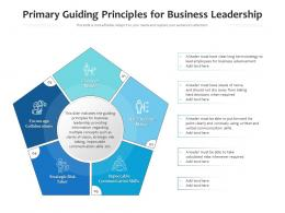 Primary Guiding Principles For Business Leadership