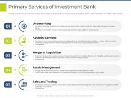 Primary Services Of Investment Bank Pitchbook For General Advisory Deal Ppt Summary