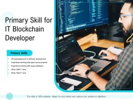 Primary Skill For IT Blockchain Developer