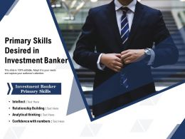 Primary Skills Desired In Investment Banker