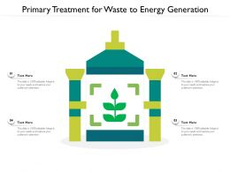 Primary Treatment For Waste To Energy Generation