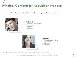 Principal Contacts For Acquisition Proposal Ppt Powerpoint Presentation Professional