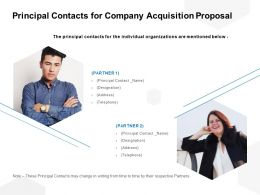 Principal Contacts For Company Acquisition Proposal Ppt Powerpoint Presentation