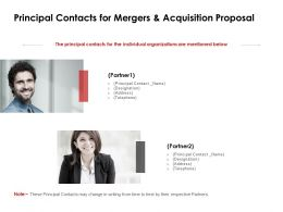 Principal Contacts For Mergers And Acquisition Proposal Team Ppt Slides