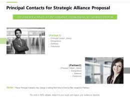 Principal Contacts For Strategic Alliance Proposal Teamwork Powerpoint Slides
