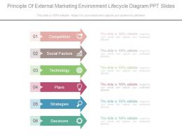 Principle Of External Marketing Environment Lifecycle Diagram Ppt Slides