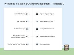 Principles In Leading Change Management Involve Ppt Powerpoint Presentation Show Diagrams