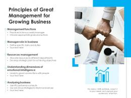 Principles Of Great Management For Growing Business