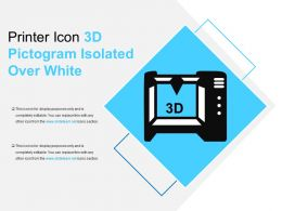 Printer Icon 3d Pictogram Isolated Over White