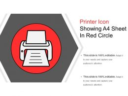 Printer Icon Showing A4 Sheet In Red Circle