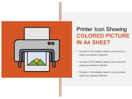 Printer Icon Showing Colored Picture In A4 Sheet