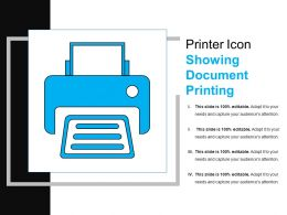 Printer Icon Showing Document Printing