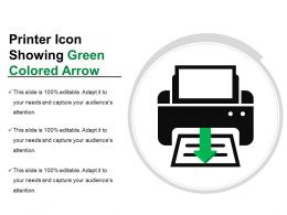 Printer Icon Showing Green Colored Arrow