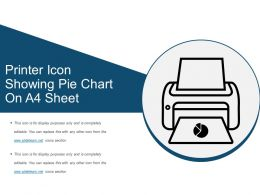 Printer Icon Showing Pie Chart On A4 Sheet