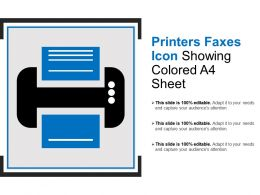 Printers Faxes Icon Showing Colored A4 Sheet