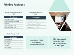 Printing Packages Pricing Ppt Powerpoint Presentation Outline Inspiration