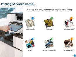 Printing Services Contd Business Cards Ppt Powerpoint Presentation Gallery Topics