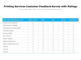 Printing Services Customer Feedback Survey With Ratings