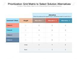 Prioritization Grid Matrix To Select Solution Alternatives