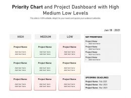 Priority Chart And Project Dashboard With High Medium Low Levels