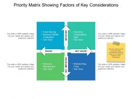 Priority Matrix Showing Factors Of Key Considerations