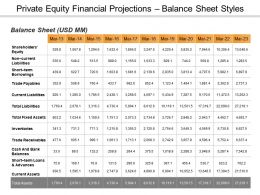 Private Equity Financial Projections Balance Sheet Ppt Slide Styles
