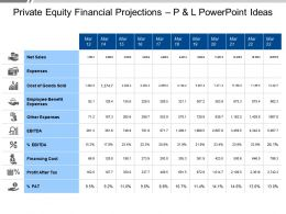 Private Equity Financial Projections P And L Powerpoint Ideas