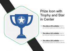 Prize Icon With Trophy And Star In Center
