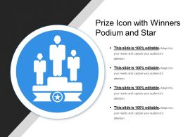 Prize Icon With Winners Podium And Star