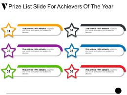 Prize List Slide For Achievers Of The Year Ppt Sample File