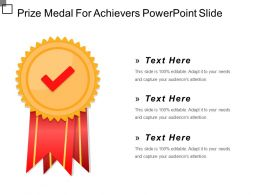 Prize Medal For Achievers Powerpoint Slide