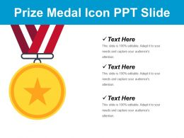 Prize Medal Icon Ppt Slide
