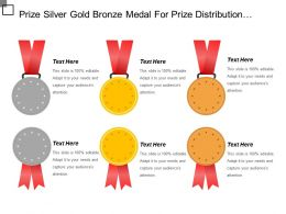 Prize Silver Gold Bronze Medal For Prize Distribution Function Ppt Samples