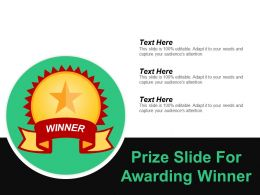 Prize Slide For Awarding Winner Ppt Samples