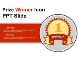 Prize Winner Icon Ppt Slide