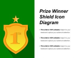 Prize Winner Shield Icon Diagram Presentation Examples