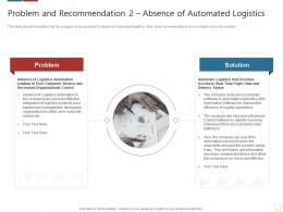 Problem And Recommendation 2 Absence Of Automated Logistics Logistics Technologies Good Value Propositions Company