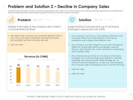 Problem And Solution 2 Decline In Company Sales Case Competition Ppt Infographics