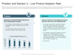 Problem And Solution 2 Low Product Adoption Rate Reasons High Customer Attrition Rate