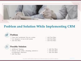 Problem And Solution While Implementing CRM Ppt Powerpoint Presentation Icon