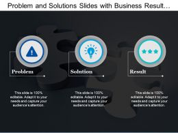 Problem And Solutions Slides With Business Result Analysis