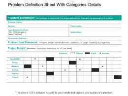 Problem Definition Sheet With Categories Details
