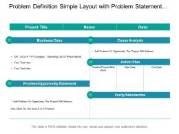 Problem Definition Simple Layout With Problem Statement And Action Plan